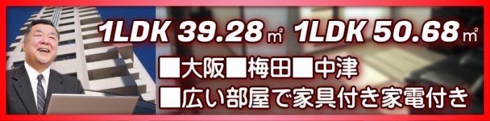 梅田・中津の広い1LDK・家具付き賃貸